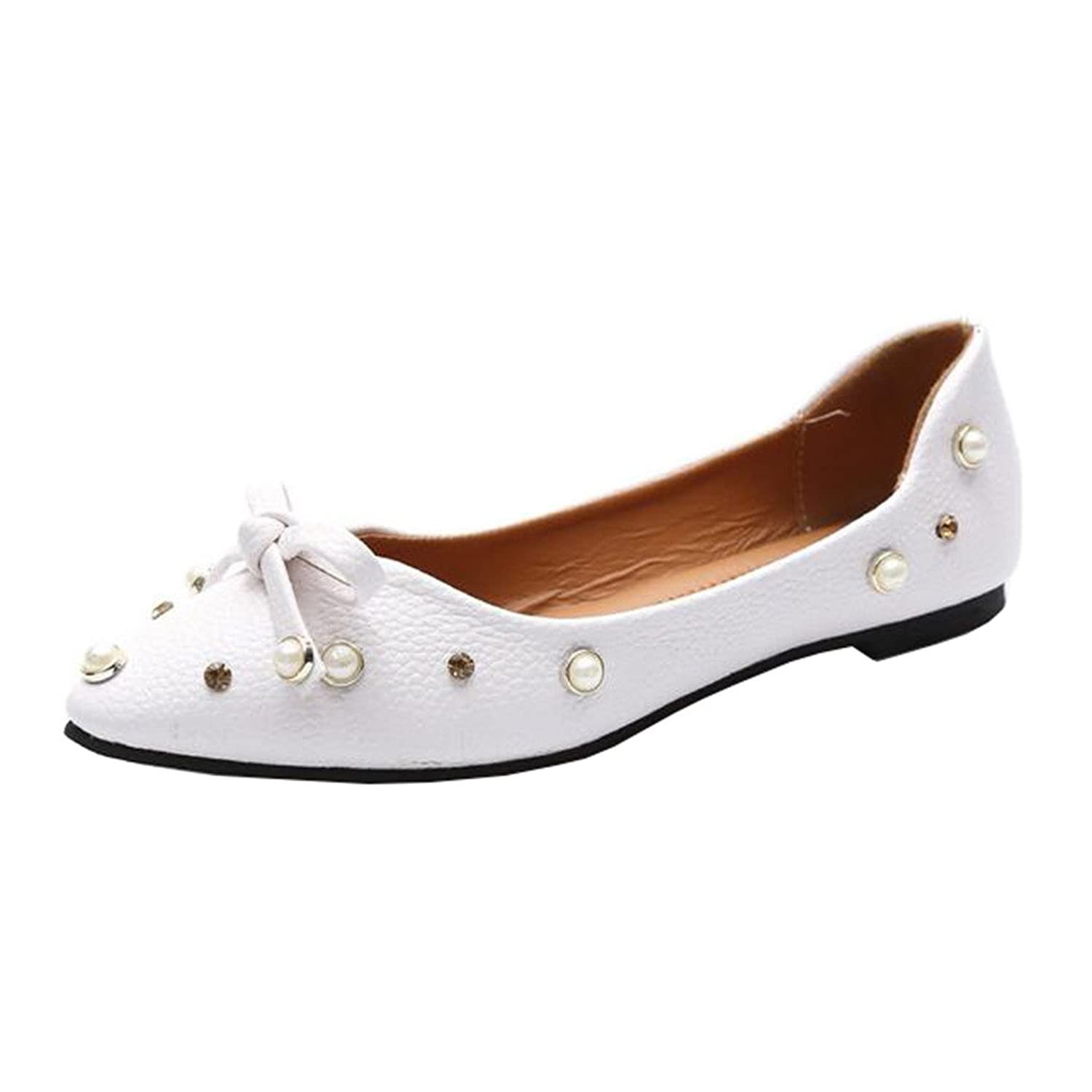 new Binying Women's Low-Top Bowknot Beaded Flat Slip-on Ballet Flats B(M) US 8 White
