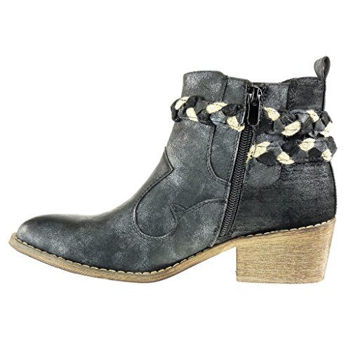 Angkorly - Zapatillas de Moda Botines chelsea boots cavalier santiags - cowboy - Vaquero mujer tanga trenzado Hebilla Talón Tacón ancho 5 CM - Negro