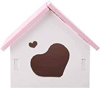 Pet Hamster House, Colorful Odorless Wooden Love Style Door Home DIY Hideout Hut Play Nest Toy Viewing Room Natural Living for Squirrels Gerbils Hamsters Golden Bears Small Animals