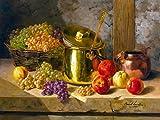 Still life grapes and apples by Alfred Arthur Brunel de Neuville Accent Tile Mural Kitchen Bathroom Wall Backsplash Behind Stove Range Sink Splashback One Tile 8''x6'' Ceramic, Matte