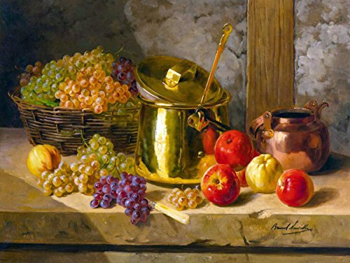 FlekmanArt Still Life Grapes and Apples by Alfred Arthur Brunel de Neuville Accent Tile Mural Kitchen Bathroom Wall Backsplash Behind Stove Range Sink Splashback One Tile 8