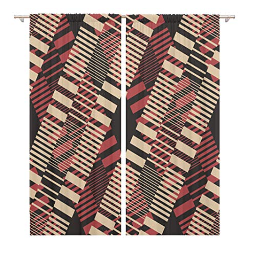 Contrast Diagonal Panel - Tinmun 104 x 84 Inch Decorative Drapes Bold Abstract Blocks Colors Contrast Creative Diagonal Digital Elegance 2 Panels Window Curtains for Living Room Bedroom Printed