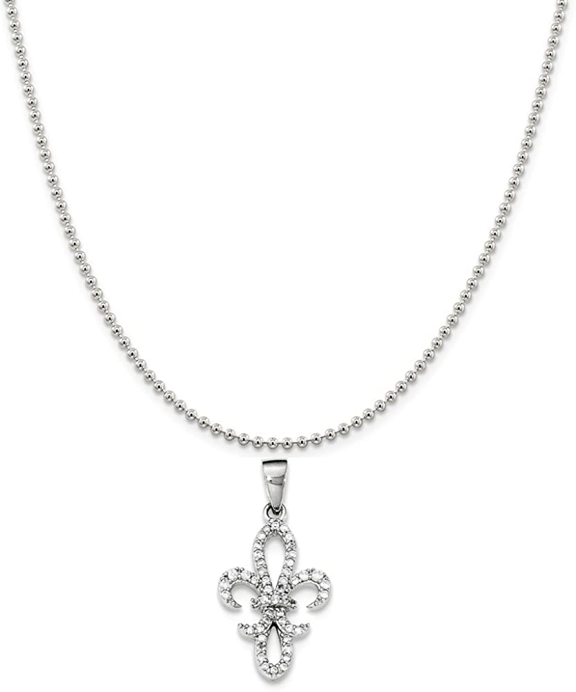 Sterling Silver Rhodium-Plated Synthetic CZ Fleur De Lis Pendant on a Sterling Silver Cable Snake or Ball Chain Necklace