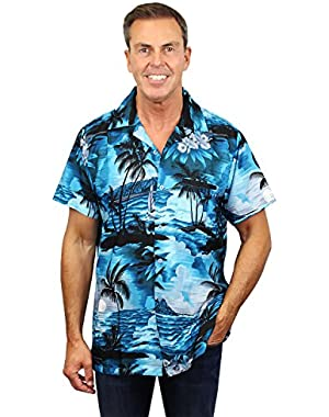 Funky Hawaiian Shirt Men Short-Sleeve Front-Pocket Surf Beach Multiple Colors