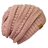 Bowbear Winter Knit Slouchy Beanie, Pink