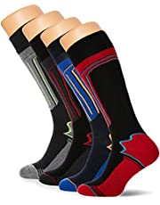 FM London 4-Pack Mens Thermal Ski Socks | Cushioned Arch Support Snowboard Socks with Full Terry (Size: 6-11 UK)