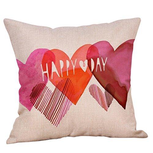 Happy Valentine 's Dayスロー枕ケースSweet Love正方形クッションカバーホームインテリアギフト、18 x18枕カバー  B07FVWQ9K4