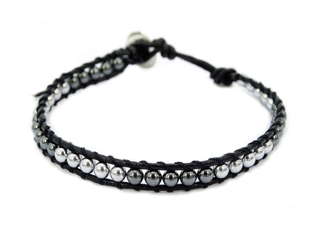 jennysun2010 Natural Gemstones Beads One Two Three Four Five Wrap Leather Button Closure Bracelet Healing JSLeatherBraceletCA-58