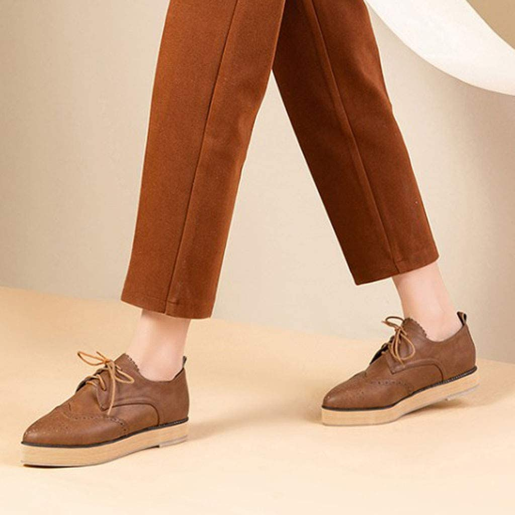 Kabeloring Femmes Oxfords Cuir Chaussures Plates Casual