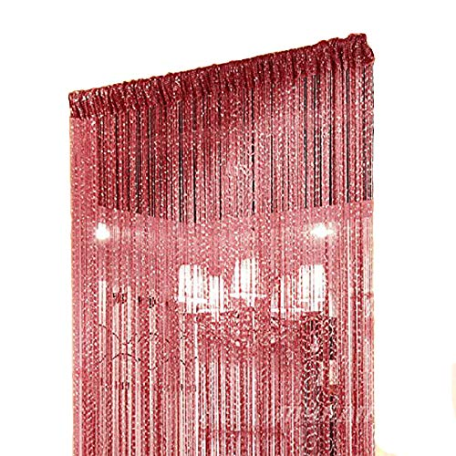 Panel Fringe (Duosuny 39x78 Inch Door String Curtain Rare Flat Silver Ribbon Thread Fringe Window Panel Room Divider Cute Strip Tassel for Wedding Coffee House Restaurant Parts (Pack of 2 Claret))