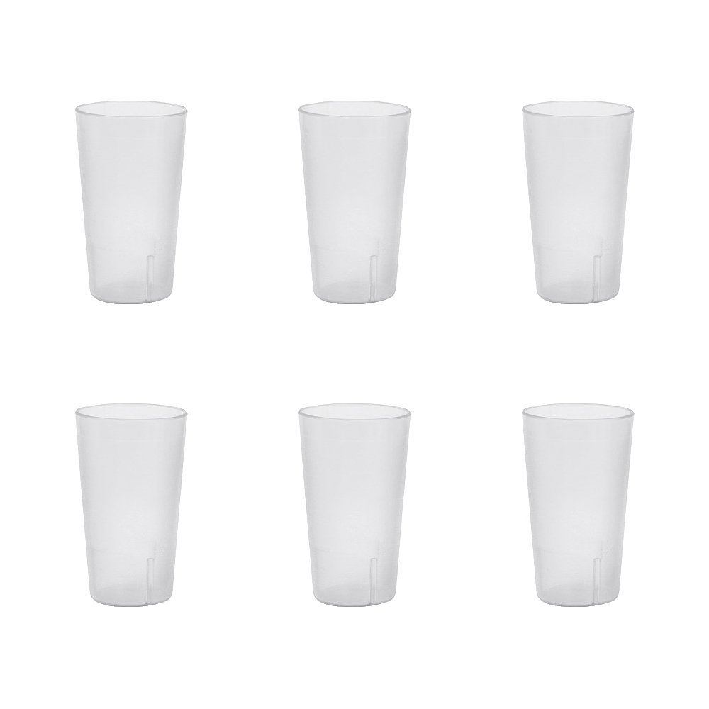 32 oz. (Ounce) Restaurant Tumbler Beverage Cup, Stackable Cups, Break-Resistant Commmerical Plastic, Set of 6 - Clear