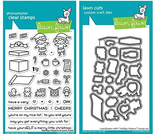 Lawn Fawn Holiday Helpers Clear Stamp Set and Coordinating Lawn Cut Die Set, Two Item Bundle (LF1767, LF1768)