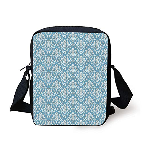 Damask,Natural Pattern in Blue and White Organic Garden Foliage Old Revival Leaves,Sky Blue White Print Kids Crossbody Messenger Bag Purse