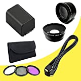 BP-819 Lithium Ion Replacement Battery + 58mm 3 Piece Filter Kit + 58mm Wide Angle Lens + 58mm 2x Telephoto Lens + Mini HDMI Cable for Canon Vixia HFG10 XA10 HFS10 HFS20 HFS21 HFS30 HFS100 HFS200 Digital Camcorder DavisMAX BP819 Accessory Bundle
