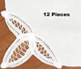 Creative Linens 12PCS Battenburg Lace Napkins WHITE, Set of 12 Pieces, 100% Cotton