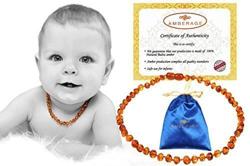 Drooling /& Teething Pain Reduce Properties Certificated Baroque Beads Unisex ,Quality Guaranteed AMBERAGE// AMBERDOG 32BA4 cognac Baltic Amber Baby Teething Necklaces Anti Flammatory