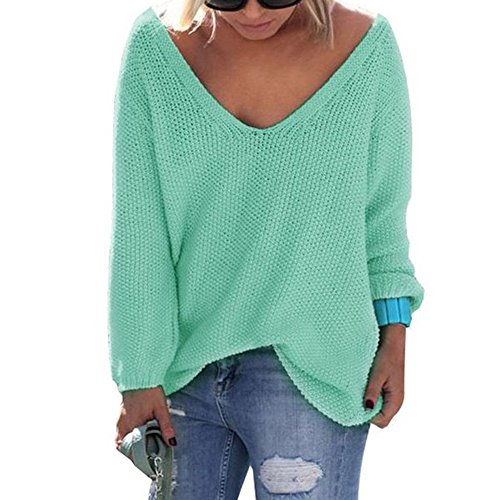 Herebuy8 Womens Casual Autumn V Neck Loose Knit Pullover Solid (Boucle Pullover)