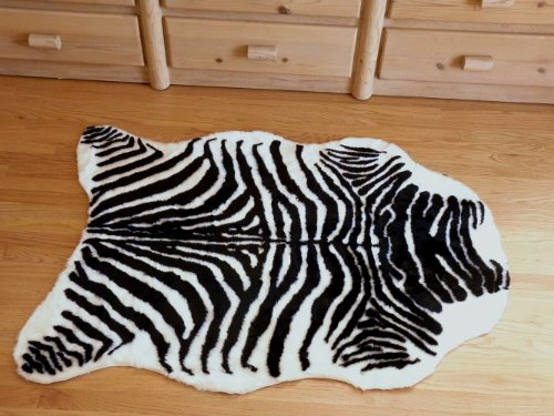 Plush Black and White Faux Zebra Skin Rug From France 3 X 5