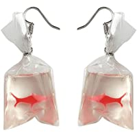 MA87 Women Funny Goldfish Water Bag Shape Dangle Hook Earrings Female Charm Jewelry