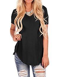 Doris Women's Casual Tunic Top Short Sleeve V-Neck Sweatshirt Basic Tees Tops Blouse