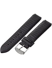 1-ZB 18mm Leather Lizard Black Watch Strap