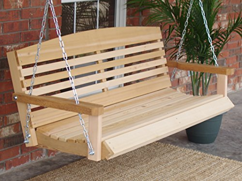 (Brand New American Cedar Porch Swing with Hanging Chain and Cupholders - 5 Foot)