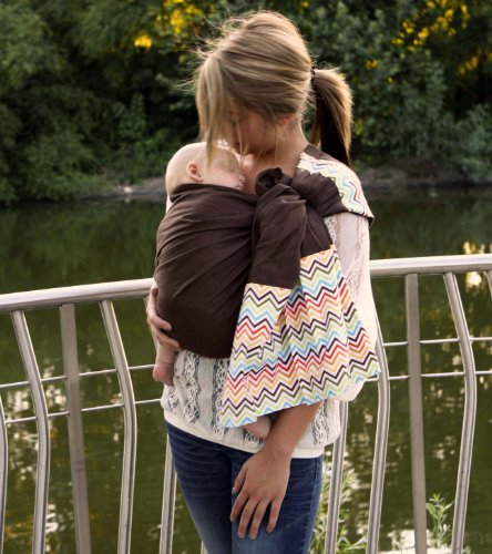 Snuggy Baby Linen Banded Ring Sling Baby Carrier in Rainbow Chevron