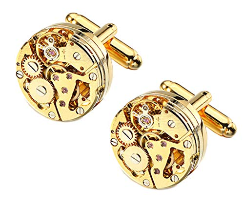 Cufflinks Direct Gold Watch Movement Mens Steampunk Wedding Gift Cuff Links (Cufflinks with Gift Bag)