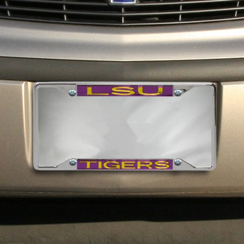 NCAA LSU Tigers Acrylic Inlay Chrome License Plate Frame
