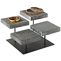 MyGift 4-Tier Industrial Weathered Gray Wood Jewelry Display Riser Stand