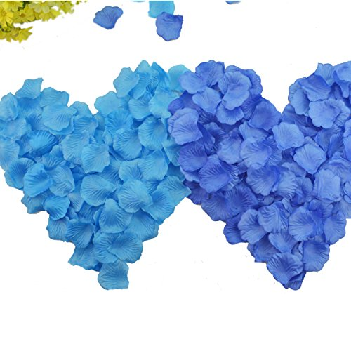Hmxpls 1000pcs Mixed Royal Blue Aqua Blue Artificial Silk Rose Flower Petals Wedding Favor Bridal Party Decoration Table Scaters Confetti