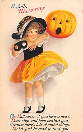 Halloween Greetings Girl with Pumpkin Unsigned Clappsaddle Antique PC J41736