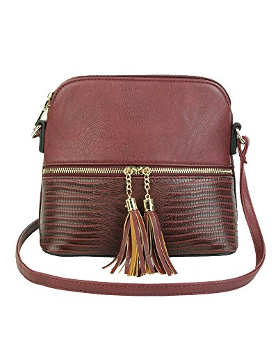Leather Tassel Handbag Sling Faux Redfox Burgundy Trendy Snakeskin Zip Women's Crossbody Mini 0xSqTH
