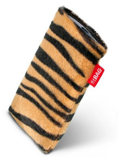 fitBAG Bonga Tiger custom tailored sleeve for Lenovo Vibe Z2 Pro. Fine imitation fur pouch with integrated MicroFibre lining for display cleaning