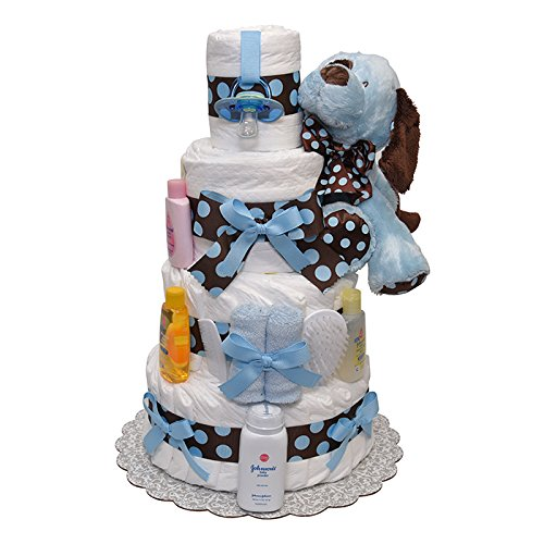 Blue and Brown Polka Dots Puppy Diaper Cake 4 Tiers