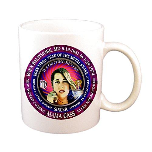 Mama Cass Elliot Singer 11 Oz Cup, Astrology Virgo Zodiac Metal Snake