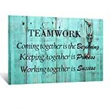 Kreative Arts Large Teamwork Definition Office Quotes Sayings Words Art Wall Decals Canvas Quotes for Dorm Motivational Wall Art Success Quote Teal Pictures for Office Classroom Ready to Hang 24x36in
