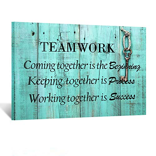 Kreative Arts Large Teamwork Definition Office Quotes Sayings Words Art Wall Decals Canvas Quotes for Dorm Motivational Wall Art Success Quote Teal Pictures for Office Classroom Ready to Hang 24x36in (Best Definition Of Success)