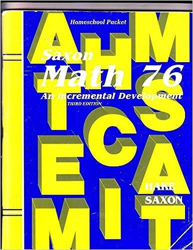 Amazon.com: Saxon Math 76: An Incremental Development: Homeschool ...