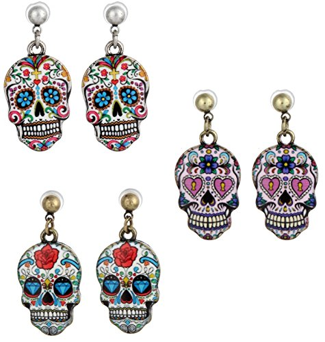 Sugar Skull, Day Of The Dead Earrings, 3 Sets