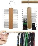 Hagspiel, Kleiderbügel 2 Stk. Krawattenhalter aus Buchenholz für 20 Krawatten (Hartholz), Breite 17,5 cm, Höhe 30 cm