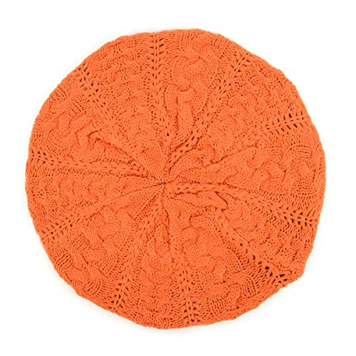 BG Soft Knit Beanie for Women Solid Color Knitted Crochet Beret Beanie Hat One Size Slouchy Orange