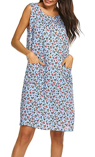 Sleeveless Shift Dress Sundress Floral Print House Dresses for Women with Pockets (XL, Floral Light Blue)