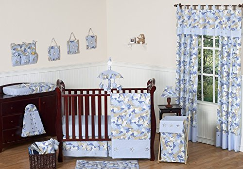 Khaki and Blue Camo Camouflage Military Baby Boy Bedding 11pc Crib Set without bumper