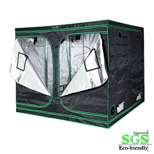 """51P2XBOM1GL - Quictent SGS Approved Eco-friendly 96""""x96""""x78"""" Reflective Mylar Hydroponic Grow Tent with Obeservation Window and waterproof Floor Tray for Indoor Plant Growing 8'x8'"""