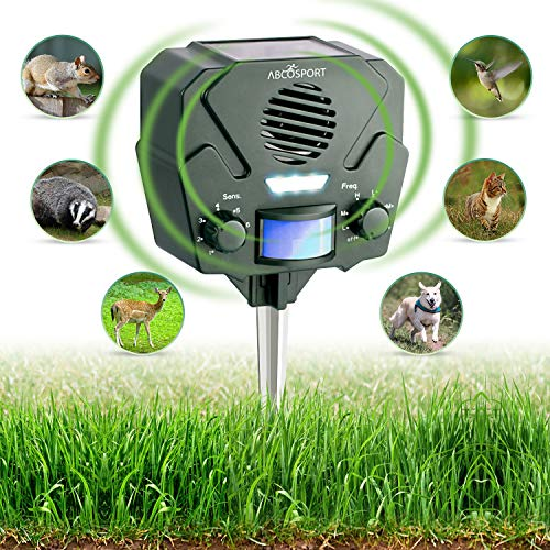 (Ultrasonic Animal Repeller & Solar Pest Repellent – 30ft Motion Sensor w/ Flashing LED Light – Waterproof – Effective & Humane Outdoor Deterrent for Raccoon, Rabbit, Bird, Deer, Cat, Dog, Squirrel)