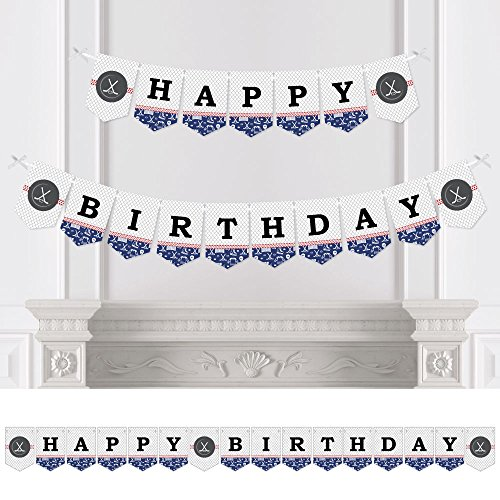 Big Dot of Happiness Shoots & Scores! - Hockey - Birthday Party Bunting Banner - Sports Party Decorations - Happy Birthday