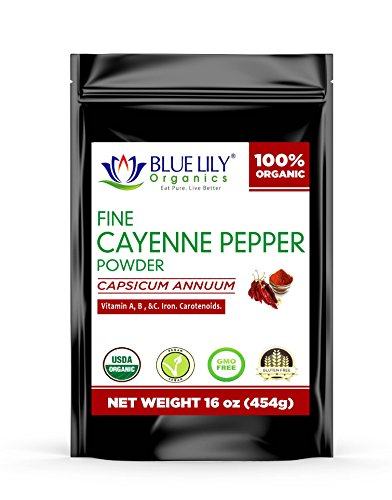 Blue Lily Organics Cayenne Pepper Powder (Ground Chilli Peppers) 35000 SHU - Certified Organic Non GMO ()