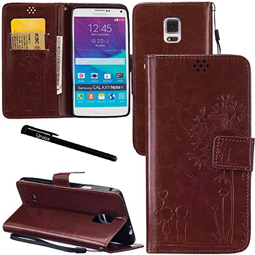 Urvoix Galaxy Note 4 Case, Credit Card Holder Leather Cover Embossed Romantic Dandelion Folio Case for Samsung Galaxy Note4 N910, Brown
