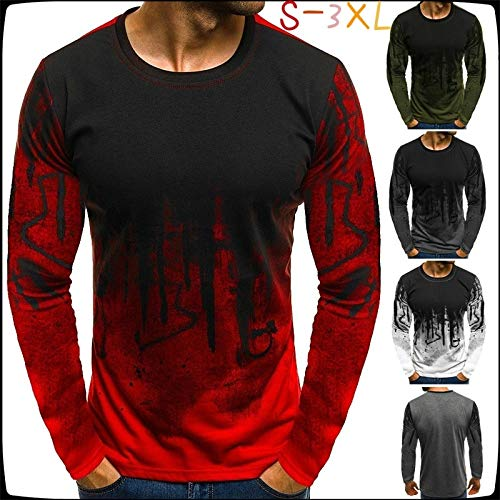 Men's Sports Camouflage T-Shirt Long Sleeved Fitness T Shirts Round Neck Fashion Casual Tops (White,M) Camouflage Long Sleeved T-shirt